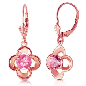 GOLD LEVERBACK EARRING WITH NATURAL PINK TOPAZ